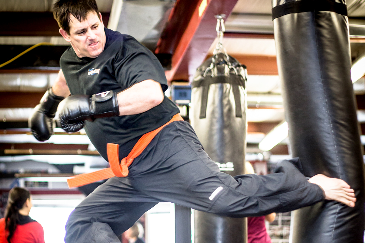 Spinning Jump Kick at Family Kickboxing in Sudbury, Ontario